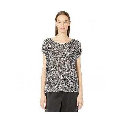 Eileen Fisher アイリーンフィッシャー レディース 女性用 ファッション ブラウス Crisp Organic Cotton Box Top - Black/Bone