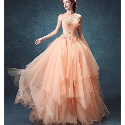 ノースリーブ 花飾り プリンセス レース カラードレス セクシー ウエディングドレス 高品質 結婚式 二次会 花嫁 着痩せ 20代30代40代