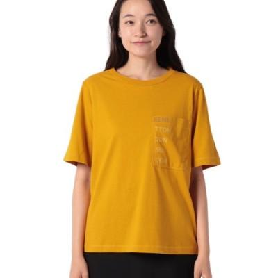 (BENETTON (women)/ベネトン レディース)コットンポケット付きブランドロゴTシャツ・カットソー/レディース イエロー