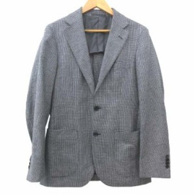 【中古】ユナイテッドアローズ テーラードジャケット 段返り 3B シングル 総柄 シルク ウール 44 Mサイズ グレー系