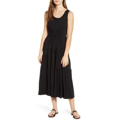 ビーチランチラウンジ) ワンピース トップス レディース Kamala Tiered Ruffle Jersey Midi Dress Black
