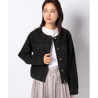 【アクシーズファム】 ブレードノーカラーデニムジャケット レディース ブラック M axes femme