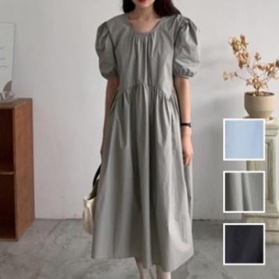 韓国 ファッション レディース ワンピース 夏 春 カジュアル naloI518  パフスリーブ ギャザー ゆったり ラフ Aライン シンプル コーデ