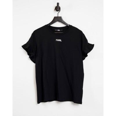 カール ラガーフェルド Karl Lagerfeld レディース Tシャツ トップス Logo Frill T-Shirt in Black ブラック