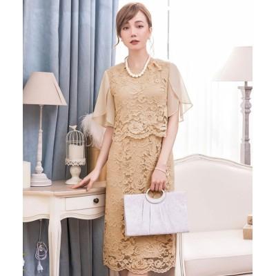 (DRESS STAR/ドレス スター)結婚式・お呼ばれ対応セットアップ風デザインフリルスリーブレースパーティドレス/レディース ベージュ