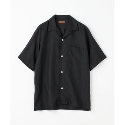 シャツ ブラウス コットンシルク オープンカラーショートスリーブシャツ BROWN