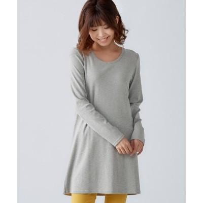 大きいサイズ 綿100%クルーネックチュニックTシャツ ,スマイルランド, plus size tops,