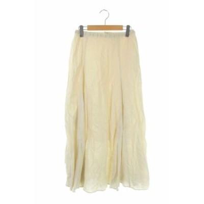 【中古】プラージュ Plage 20SS Linen Flared スカート ロング フレア リネン ペチコート付き 38 アイボリー