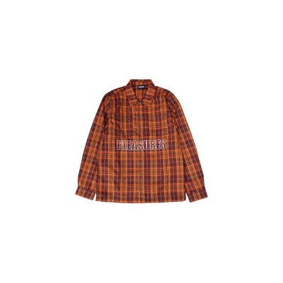 プレジャーズ PLEASURES シャツ メンズ M-XL オレンジ チェック ロングスリーブ SHADE PLAID WORK SHIRT -ORANGE-