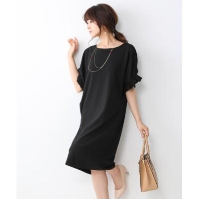 【ジャージーシリーズ】タックスリーブポケット付サックワンピース (ワンピース)Dress