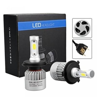 車 アクセサリー 照明部品 72W 8000lm H4 LED COB Headlight Conversion Kit High Low Beam 3 Sides LED Headlamp 6500K White Bulbs 正規輸入品