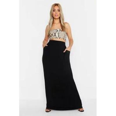 Boohoo レディーススカート Boohoo Plus Pocket Front Jersey Maxi Skirt black