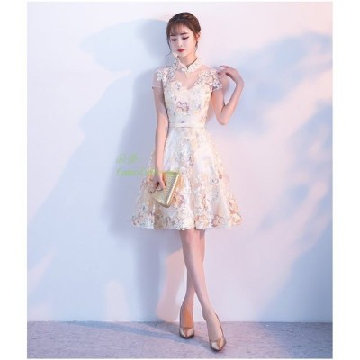 パーティードレス 結婚式 ドレス お呼ばれ チャイナ風 卒業式 袖あり フレアドレス 二次会ドレス ウェディングドレス パーティドレス 膝丈ドレス 大人