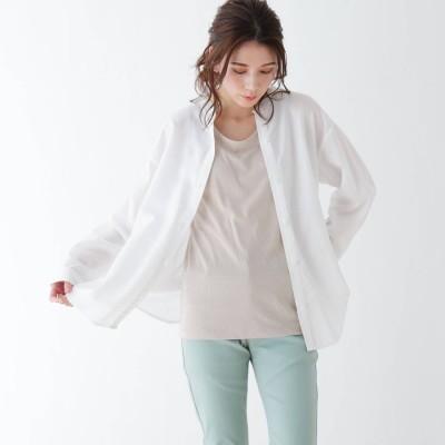 シューラルー SHOO-LA-RUE 【M-3L/2点セット】バンドカラーシャツ+タンクトップ (ホワイト)