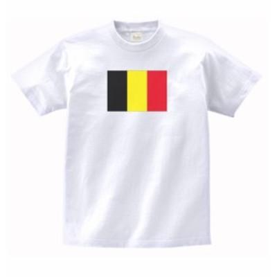 国 国旗 Tシャツ ベルギー 白