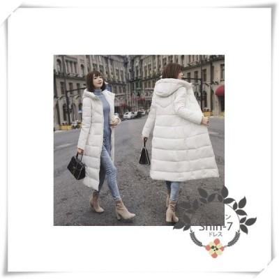 ダウンコートレディースコートブラックロングコート中綿ジャケットフード付きカラーコート2018ダウンジャケット大きいサイズ5色6XL
