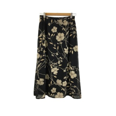 【中古】レリアン Leilian スカート フレア ロング 花柄 13+ 黒 茶 ブラック ブラウン レディース 【ベクトル 古着】