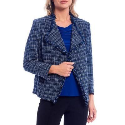 カスパー レディース ジャケット&ブルゾン アウター Petite Size Tweed Long Sleeve Open Front Fringe Jacket Twilight Blue Multi