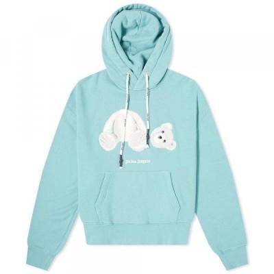 パーム・エンジェルス トレーナー パーカー セーター メンズPalm Angels Kill The Bear Popover HoodyTurquoise