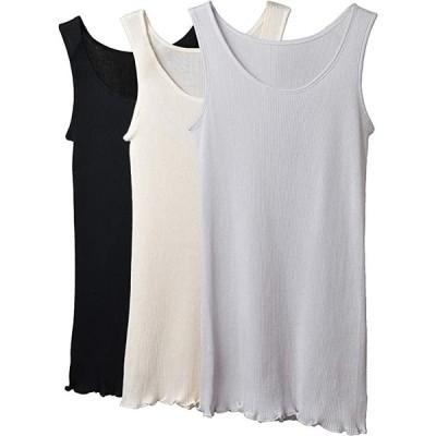 ビーコ 日本製 高級綿100% 超軽量リブタンクトップ 脇縫い目なし 3枚組(3枚組(ブラック&オフホワイト&グレー), M〜L)