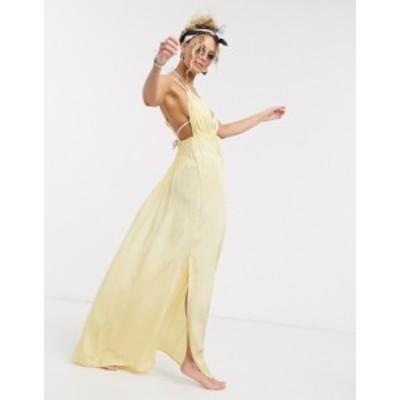 エイソス レディース ワンピース トップス ASOS DESIGN rope detail v front beach maxi dress in golden yellow Golden yellow