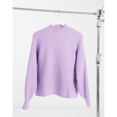 ベルシュカ レディース ニット・セーター アウター Bershka ribbed crew neck sweater with balloon sleeves in lilac