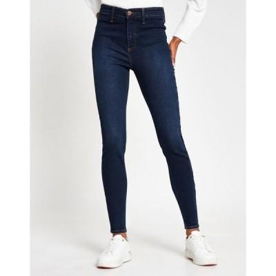 リバーアイランド レディース デニムパンツ ボトムス River Island Kaia high rise skinny jeans in dark wash blue Dark