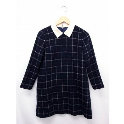 【中古】トランテアン ソン ドゥ モード 31 Sons de mode ワンピース スカート チャック 長袖 ジップ ウール 36 ネイビー 紺