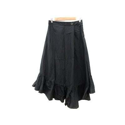 【中古】ザラ ZARA フレアスカート マキシ ロング フリル 変形デザイン M 黒 ブラック /AU レディース 【ベクトル 古着】