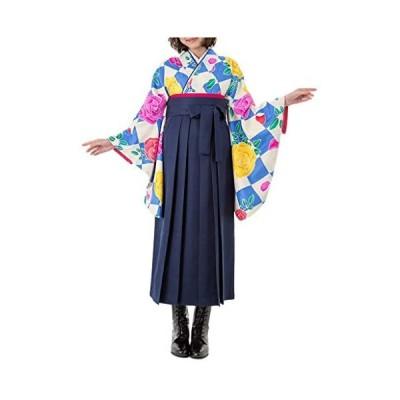 [キョウエツ] 袴セット 卒業式 ひさかたろまん HN-1-24 4点セット(二尺袖着物、袴、袴下帯、襦袢) (HN-1×濃紺 袴 S)