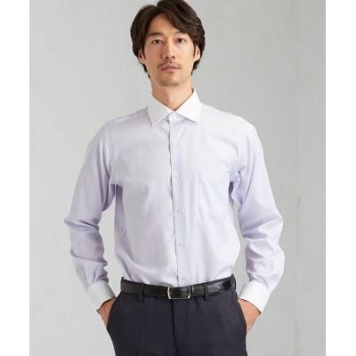 (green label relaxing/グリーンレーベルリラクシング)スリム シャドウ ストライプ SWD クレリック ドレスシャツ < 機能性 / イージーアイロン >/メンズ LILAC