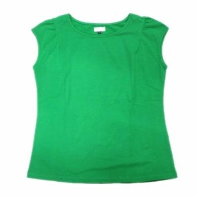 【中古】美品 オットー OTTO ノースリーブ Tシャツ カットソー 無地 ストオレッチ 丸首 LL 緑 グリーン レディース