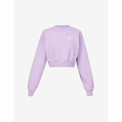 リヴィンクール LIVINCOOL レディース スウェット・トレーナー トップス Brand-embroidered cropped cotton-jersey sweatshirt LILAC