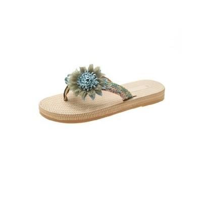 ビーチサンダル レディース 夏 美脚 トングサンダル かわいい 花柄の飾り フラットサンダル 海 プール 疲れない 歩きやすい ビーサン