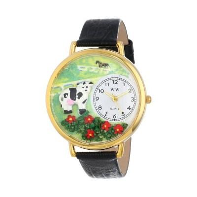 牛 黒レザー ゴールドフレーム 時計 #G0110018