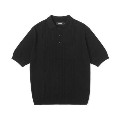 ポロシャツ 【mahagrid】CABLE KNIT POLO / マハグリッド ケーブル ニット ポロシャツ