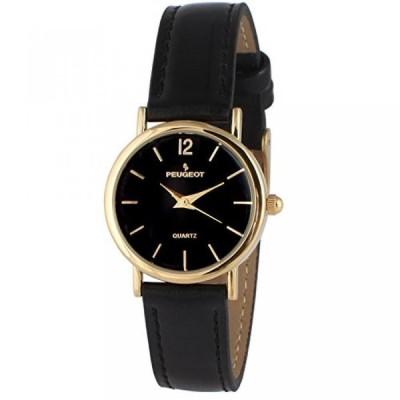 プジョー 腕時計 レディースウォッチ Peugeot Women's 3055BK Gold Tone Classic Black Leather Watch
