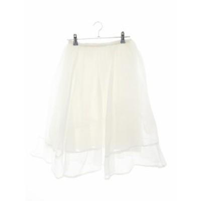 【中古】マーキュリーデュオ MERCURYDUO スカート フレア ひざ丈 チュール 無地 F 白 ホワイト /M2 レディース