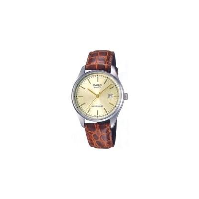 カシオ 日常生活防水 メンズ アナログ 腕時計 見やすい アラビア数字 日付カレンダー ブラウン 茶 レザー 本革カーフ 革バンド CASIO ドレスウォッチ (SD8OC23)