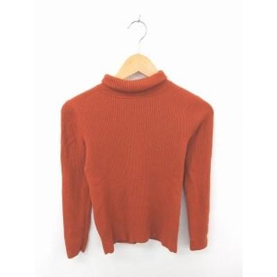 【中古】メルローズ MELROSE ニット セーター タートルネック 無地 シンプル ウール 長袖 橙 オレンジ /TT37
