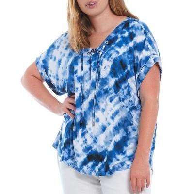 カルバンクライン レディース Tシャツ トップス Plus Size Tie Dye Knit Lace Up V-Neck Short Sleeve Top Twilight Multi