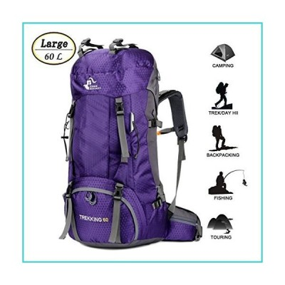60L Waterproof Ultra Lightweight Hiking Backpack with Rain Cover,Outdoor Sport Daypack Travel Bag for Climbing Camping touring (Purple)【