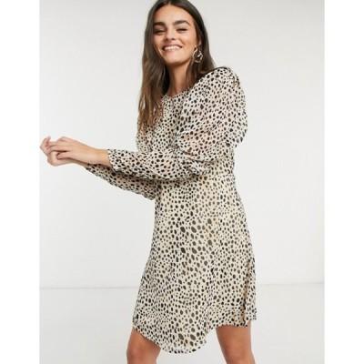 ヴィラ レディース ワンピース トップス Vila mini dress with puff sleeves in polka dot