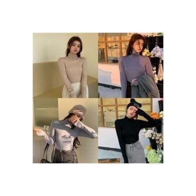 【送料無料】ボトムシャツ 女 秋冬 年 韓国風 単一色 着やせ 着やせ 長袖 ハイカ | 346770_A64228-2898645