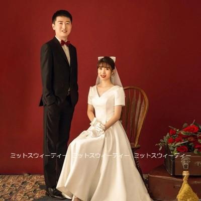 ウェディングドレス Aライン 半袖 ウエディングドレス 二次会 花嫁 パーティードレス 披露宴 ブライダル 結婚式 マキシ丈ドレス 白 大きいサイズ シンプルドレス