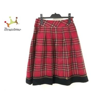 エムズグレイシー スカート サイズ38 M レディース - レッド×黒×マルチ ひざ丈/チェック柄 新着 20210106