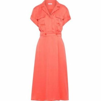 エキプモン EQUIPMENT レディース ワンピース シャツワンピース ワンピース・ドレス orlenna washed silk-blend midi shirt dress Coral