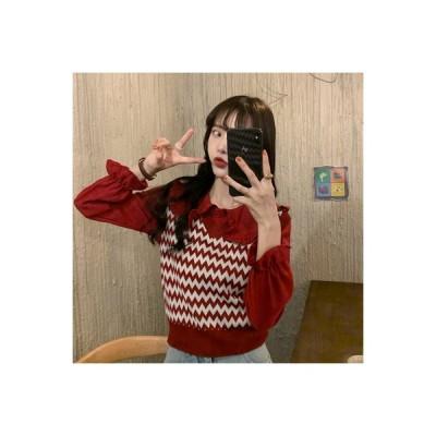【送料無料】秋 韓国風 トレンドカラー ニッティング ステッチシャツ 女 何でも似合う | 346770_A63859-4468815
