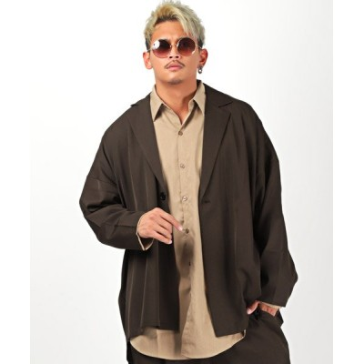 【ラグスタイル】 ビッグシルエットジャケット/テーラードジャケット メンズ ビッグシルエット 無地 メンズ ブラウン L LUXSTYLE