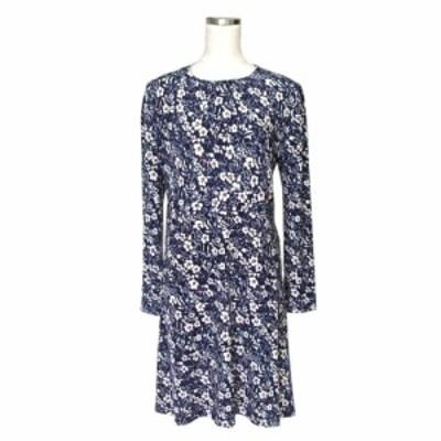 美品 EMMAJAMES エマジェイムス フェミニンドレープワンピース (紺 ドレス テキスタイル 花柄) 114674【中古】